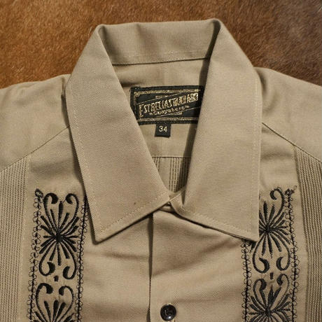 "[ESG-2PL1-01S-KB]  S/S GUAYABERA FOR TWO PIECE ""REJILLADA "" KHAKI x BLACK"