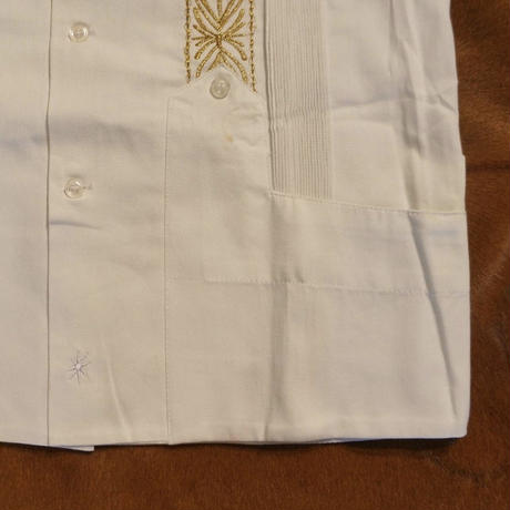 "[ESG-2PL1-01S-WG]  S/S GUAYABERA FOR TWO PIECE ""REJILLADA "" WHITE x GOLD"