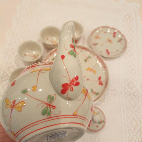 ベトナム バッチャン焼き 茶器セット 幸せを運ぶとんぼ絵 赤