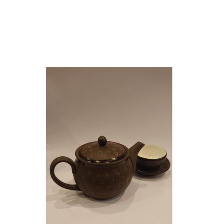 ベトナム バッチャン焼き 茶器セット シックなチョコレート色 グリーン