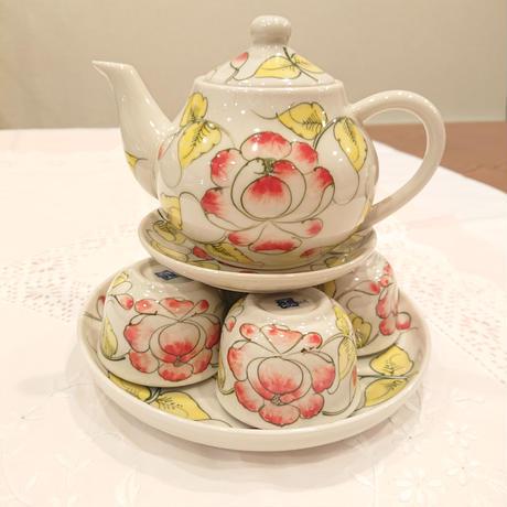 ベトナム バッチャン焼き 茶器セット 芙蓉  ホワイト
