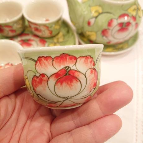 ベトナム バッチャン焼き 茶器セット 芙蓉  グリーン
