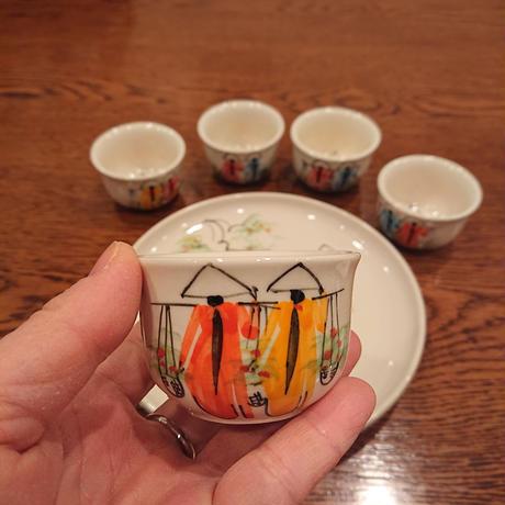 ベトナム バッチャン焼き 茶器セット アオザイ女の子