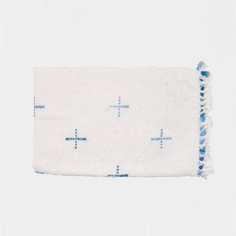 手紬ぎハンドタオル(青)  Handspun hand towel (blue)