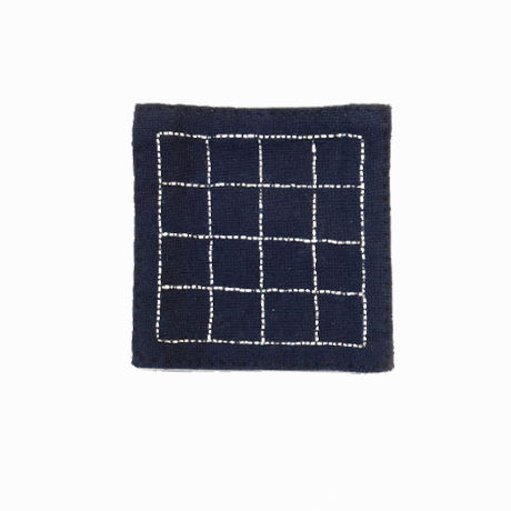 苗族刺繍入り藍染めコースター(マス目)  Miao indigo coaster (grid)