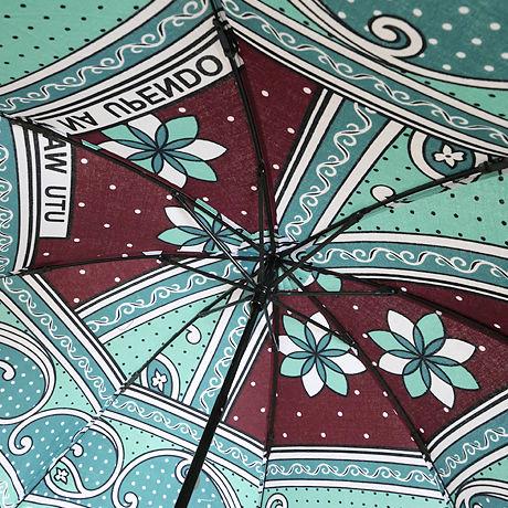 カンガ日傘(折りたたみ式)ブルー&ブラウン