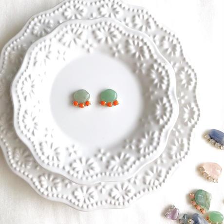 Gemstone pierce / earring - Aventurine 2