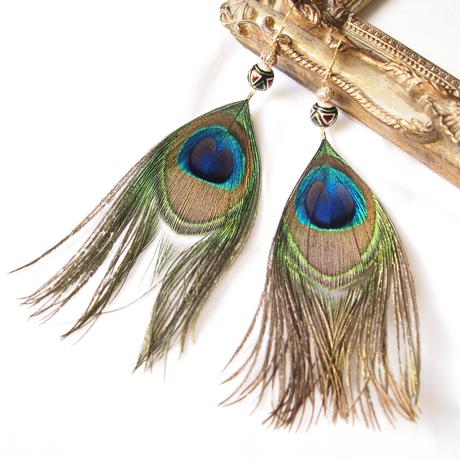 Feather Peacock pierces / earrings [1]