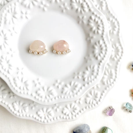 Gemstone pierce / earrings -  Rose quartz
