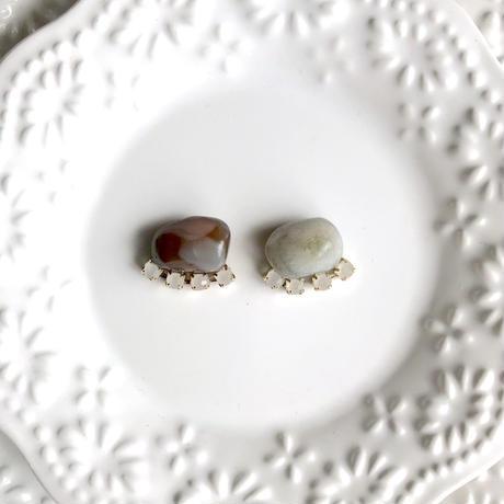Gemstone pierce / earring - Green agate