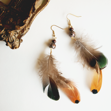 Feather brown&green pierces / earrings [1]