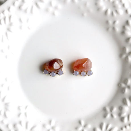 Gemstone pierce / earring - Red agate