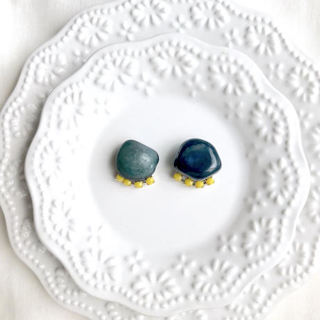 Gemstone  pierce / earring - Blue agate