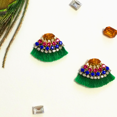 Fringe bijou pierces / earrings - Multi-color