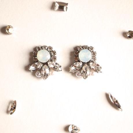 [Dress me up] Bijou pierce/earring - White Opal