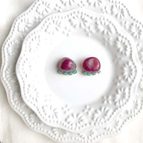 Gemstone pierce/earring - Pink agate2