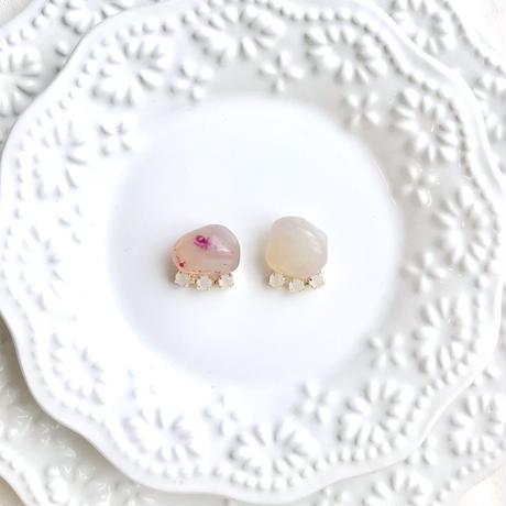 Gemstone pierce / earring - Pink agate