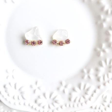 Gemstone pierce / earring -  Rose quartz