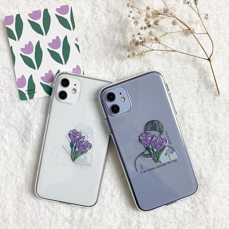 Purple flower boy girl couple case