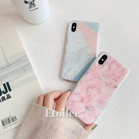 Gold glitter Pink grey marble iphone case