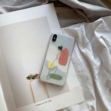 Tulip line clear iphone case [F]