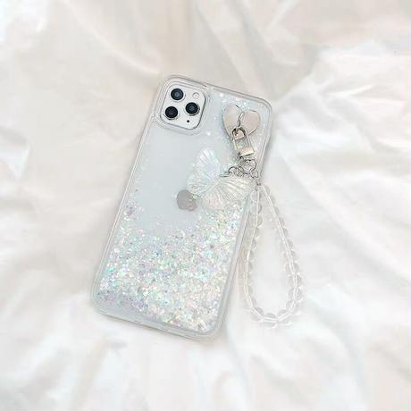 Butterfly strap glitter quicksand iphone case