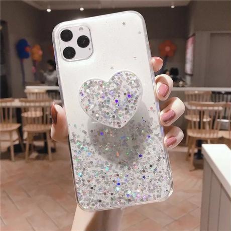 Heart grip glitter iphone case