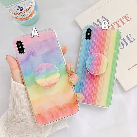 Rainbow glitter with grip iphone case
