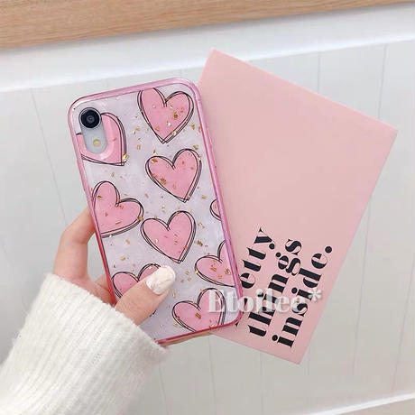 Pink heart glitter iphone case
