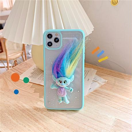 Troll friend mint purple glitter iphone case