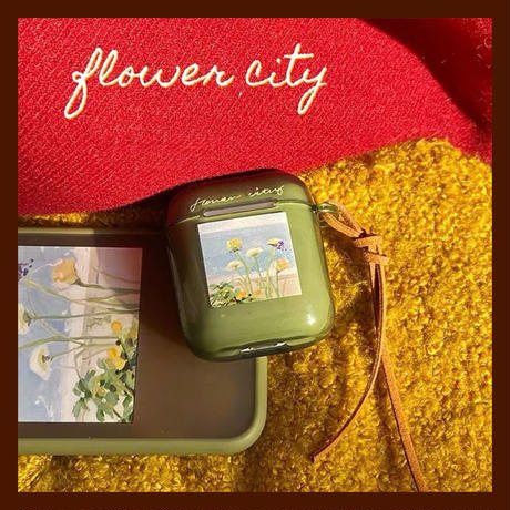 Flower city green airpods case