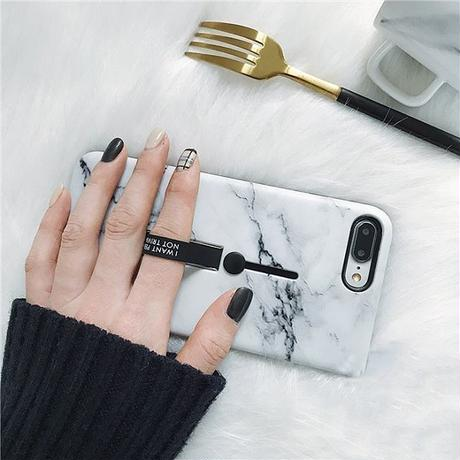 Marble black band iphone case