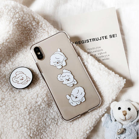 Wind white dog  grip for phone