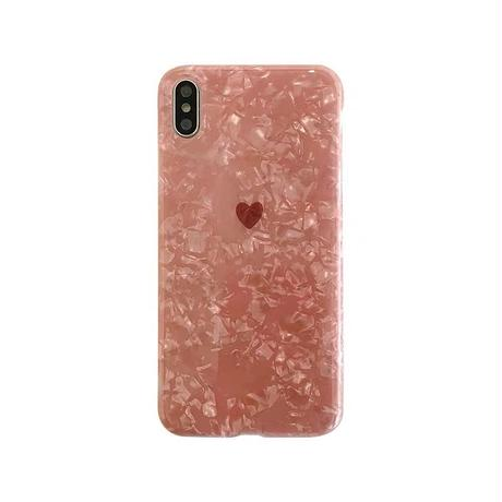 Petite pink heart shell iphone case