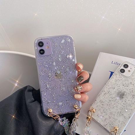 Silver glitter strap iphone case