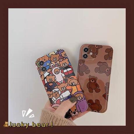 Bear drawing brown pattern iphone case