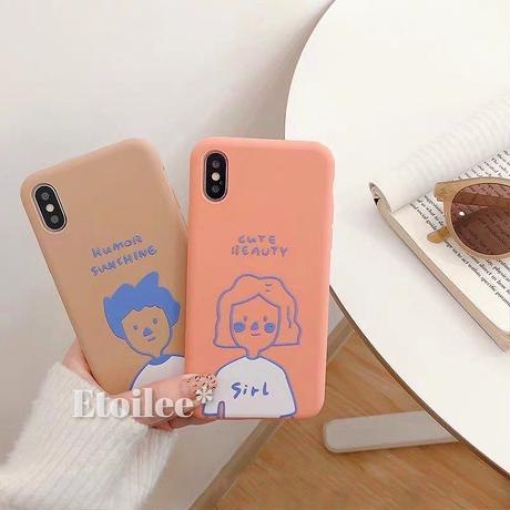 Boy and girl orange brown iphone case
