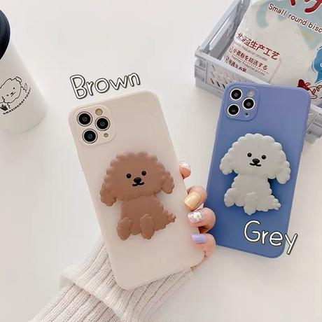 Poodle grey brown grip iphone case