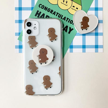 Brown poodle grip for phone