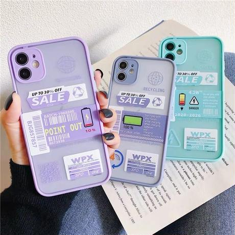 Battery label color side iphone case