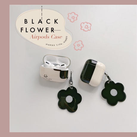 Black flower strap airpods case