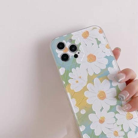 White daisy green heart side iphone case