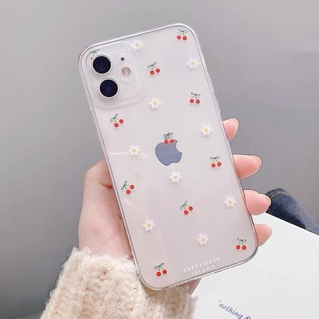 Petite cherry flower with grip iphone case