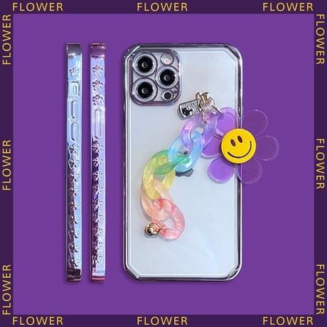 Purple smile flower strap iphone case