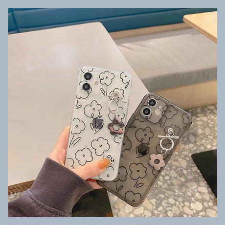 Flower drawing clear black iphone case