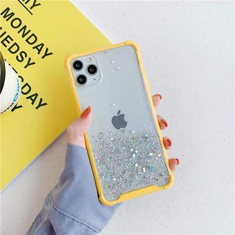 Silver glitter color side iphone case