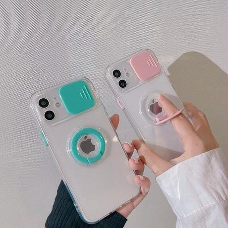 Color ring clear iphone case (Pink, Green)