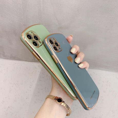 Heart metal color round iphone case