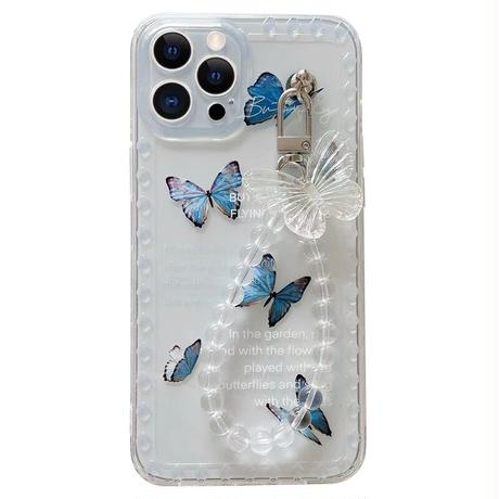 Blue butterfly strap iphone case