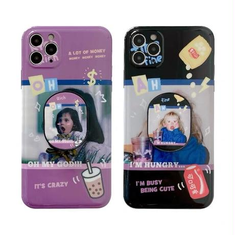 Black purple girls grip iphone case